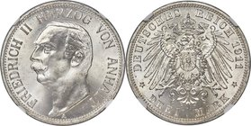 Anhalt-Dessau. Friedrich II 3 Mark 1911-A MS65 NGC, Berlin mint, KM29, J-23. Highly lustrous with white, satiny surfaces. A finer example has yet to b...