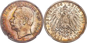 Baden. Friedrich II 3 Mark 1912-G MS67 NGC, Karlsruhe mint, KM280. Colorfully toned and displaying nearly flawless preservation for the type.   HID098...