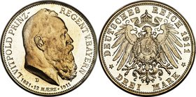 "Bavaria. Luitpold Proof ""90th Birthday"" 3 Mark 1911-D PR66 Cameo PCGS, Munich mint, KM998, J-49. A practically perfect specimen blooming with bright r..."