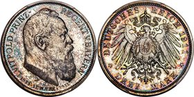 "Bavaria. Luitpold Proof ""90th Birthday"" 3 Mark 1911-D PR66 Cameo PCGS, Munich mint, KM998, J-49. Struck for the 90th birthday of the Prince Regent. Sp..."