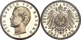 Bavaria. Otto Proof 3 Mark 1912-D PR67 Cameo PCGS, Munich mint, KM996, J-47. A date with the second-lowest mintage for the type, shown here with warm ...