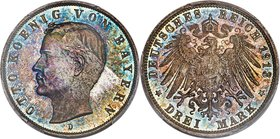 Bavaria. Otto 3 Mark 1913-D MS66 Prooflike PCGS, Munich mint, KM996, J-47. Visually bold, with turquoise and cobalt color that halo the caramel center...