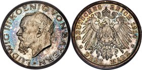 Bavaria. Ludwig III Proof 3 Mark 1914-D PR65 Cameo PCGS, Munich mint, KM1005, J-52. Carefully preserved with pastel blue and violet patina throughout....