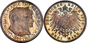 "Bavaria. Ludwig III Proof ""Golden Wedding Anniversary"" 3 Mark 1918-D PR65 Cameo PCGS, Munich mint, KM1010 (unlisted in Proof), J-54. Estimated Proof M..."