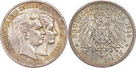 "Brunswick-Wolfenbüttel. Ernst August 3 Mark 1915-A MS65+ PCGS, Berlin mint, KM1162, J-57. ""U. LÜNEB"" legend variety. Outlined in gold at the legends a..."
