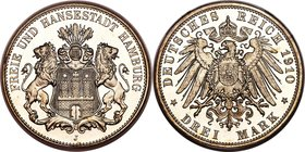 Hamburg. Free City Proof 3 Mark 1910-J PR66 Deep Cameo PCGS, Hamburg mint, KM620, J-64. This white jewel is struck to needle-sharpness, which, in conj...