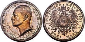 Hesse-Darmstadt. Ernst Ludwig Proof 3 Mark 1917-A PR64 PCGS, Berlin mint, KM376, J-77. Struck as a Proof-only issue in a limited mintage of 1,333. Dre...