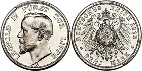Lippe-Detmold. Leopold IV Proof 3 Mark 1913-A PR66 Cameo PCGS, Berlin mint, KM275, J-79. Proof Mintage: 100. Bright and highly reflective with a speck...