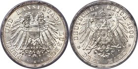 Lübeck. Free City 3 Mark 1908-A MS67 PCGS, Berlin mint, KM215, J-82. An impeccable type representative displaying unencumbered mint brilliance.   HID0...