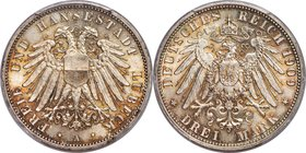 Lübeck. Free City 3 Mark 1909-A MS67 PCGS, Berlin mint, KM215, J-82. Unsurpassed in this certified technical quality, displaying a mix of fiery color ...