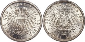 Lübeck. Free City 3 Mark 1909-A MS67 PCGS, Berlin mint, KM215, J-82. A brilliant white gem that ranks at the peak of current certification across both...