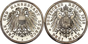 Lübeck. Free City Proof 3 Mark 1912-A PR67 Deep Cameo PCGS, Berlin mint, KM215, J-82. Fully elite and unchallenged in this ultra gem grade, exceeding ...