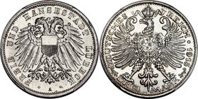 Lübeck. Free City aluminum-plated copper Specimen Pattern 3 Mark 1915-A SP64 PCGS, Berlin mint, KM-Pn39, Schaaf-82/G3. Obv. Double-headed eagle with m...