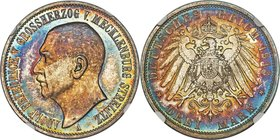 Mecklenburg-Strelitz. Adolph Friedrich V Proof 3 Mark 1913-A PR65 NGC, Berlin mint, KM120, J-92. Mintage: 7000. Alight with iridescent colors spanning...