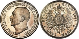 Mecklenburg-Strelitz. Adolph Friedrich V Proof 3 Mark 1913-A PR65 PCGS, Berlin mint, KM120, J-92. Deeply and uniformly gunmetal-toned, culminating in ...