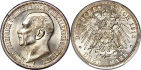 Mecklenburg-Strelitz. Adolph Friedrich V 3 Mark 1913-A MS65 PCGS, Berlin mint, KM120, J-92. An alluring gem example of this type, which proves scarce ...