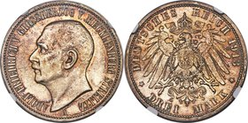 Mecklenburg-Strelitz. Adolph Friedrich V 3 Mark 1913-A MS64 NGC, Berlin mint, KM120, J-92. Quite attractive, with russet and gold patina, just a few t...