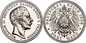 Prussia. Wilhelm II Proof 3 Mark 1908-A PR67 NGC, Berlin mint, KM527, J-103. Pristine to the point where each flow line sparkles brightly to the naked...
