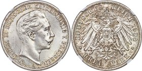 Prussia. Wilhelm II 3 Mark 1908-A MS66 NGC, Berlin mint, KM527, J-103. Satiny and dressed in light silver tone.   HID09801242017