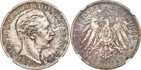 Prussia. Wilhelm II 3 Mark 1909-A MS67 NGC, Berlin mint, KM527, J-103. Mottled with cabernet-tinged graphite tones, iridescent blue-green coloration v...