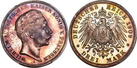 Prussia. Wilhelm II Proof 3 Mark 1909-A PR66+ Cameo PCGS, Berlin mint, KM527, J-103. Singular in appearance, the surfaces cloaked in midnight tones of...