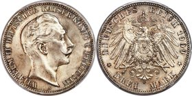 Prussia. Wilhelm II 3 Mark 1909-A MS66+ PCGS, Berlin mint, KM527, J-103. With desirable tone that drips from the design features and surfaces that are...