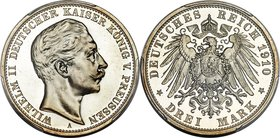 Prussia. Wilhelm II Proof 3 Mark 1910-A PR67 Deep Cameo PCGS, Berlin mint, KM527, J-103. An ideal pairing of jet-black mirrors and frosty white device...