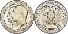 "Prussia. Wilhelm II Proof ""Berlin University"" 3 Mark 1910-A PR66 Cameo PCGS, Berlin mint KM530, J-107. Rendered to full definition, this representativ..."