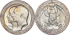 "Prussia. Wilhelm II Proof ""Berlin University"" 3 Mark 1910-A PR66 Cameo PCGS, Berlin mint KM530, J-107. Exceedingly watery with a soft lilac edge tone ..."