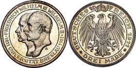 "Prussia. Wilhelm II Proof ""Breslau University"" 3 Mark 1911-A PR67 PCGS, Berlin mint, KM531, J-108. Absolutely unparalleled in this certified quality, ..."
