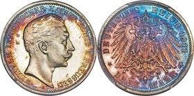 Prussia. Wilhelm II Proof 3 Mark 1911-A PR66 Deep Cameo PCGS, Berlin mint, KM527, J-103. This selection, the finest certified by PCGS to-date, display...