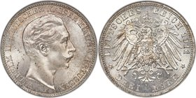 Prussia. Wilhelm II 3 Mark 1911-A MS65 NGC, Berlin mint, KM527. J-103. This gem-certified representative offers vibrant surfaces with subtle pale apri...