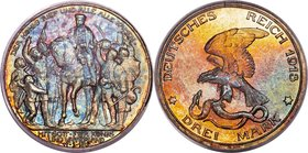 "Prussia. Wilhelm II Proof ""Napoleon's Defeat"" 3 Mark 1913-A PR67 PCGS, Berlin mint, KM534, J-110. The obverse of this high-grade gem has developed an ..."