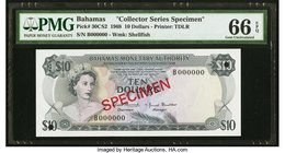 "Bahamas Monetary Authority 10 Dollars 1968 Pick 30CS2 ""Collector Series Specimen"" PMG Gem Uncirculated 66 EPQ. Two POCs.  HID09801242017"