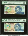 "Bahamas Central Bank 1 Dollar 1974 (ND 1992) Pick 50 Five ""Commemorative"" Examples PMG Gem Uncirculated 66 EPQ. Two consecutive examples; three consec..."