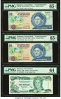 Bahamas Central Bank Lot Of Six PMG Graded Examples. 1/2 Dollar 2001 Pick 68 Two Examples PMG Superb Gem Unc 67 EPQ; Gem Uncirculated 66 EPQ; 1 Dollar...
