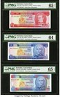 Barbados Central Bank Lot Of Six PMG Graded Examples. 1 Dollar ND (1973) Pick 29a PMG Gem Uncirculated 65 EPQ; 2 Dollars ND (1980); ND (1995) Pick 30;...