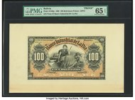 Bolivia Banco Industrial de La Paz 100 Bolivianos 1.6.1900 Pick S156p Front Proof PMG Gem Uncirculated 65 EPQ. Tears in cardstock; five POCs.  HID0980...