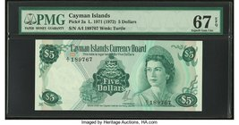 Cayman Islands Currency Board 5 Dollars 1971 (ND 1972) Pick 2a PMG Superb Gem Unc 67 EPQ.   HID09801242017