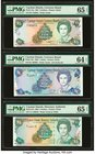 Cayman Islands Currency Board 5 (2); 1 Dollars 1991; 2001; 1996 Pick 12a; 27a; 16a Three Examples PMG Gem Uncirculated 65 EPQ (2); Choice Uncirculated...