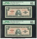 Low Consecutive Serial Number Pair Cuba Banco Nacional de Cuba 10 Pesos 1949 Pick 79a Two Examples PMG Gem Uncirculated 65 EPQ (2).   HID09801242017