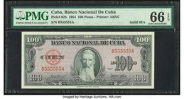 Solid Serial Number 555555 Cuba Banco Nacional de Cuba 100 Pesos 1954 Pick 82b PMG Gem Uncirculated 66 EPQ.   HID09801242017