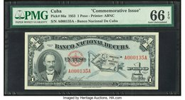 Low Serial Number Cuba Banco Nacional de Cuba 1 Peso 1953 Pick 86a Commemorative PMG Gem Uncirculated 66 EPQ.   HID09801242017