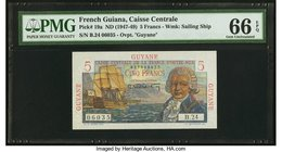 French Guiana Caisse Centrale de la France d'Outre-Mer 5 Francs ND (1947-49) Pick 19a PMG Gem Uncirculated 66 EPQ.   HID09801242017