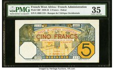 French West Africa Banque de l'Afrique Occidentale 5 Francs 1.9.1932 Pick 5Bf PMG Choice Very Fine 35.   HID09801242017