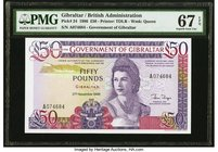 Gibraltar Government of Gibraltar 50 Pounds 27.11.1986 Pick 24 PMG Superb Gem Unc 67 EPQ.   HID09801242017