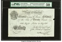 "Great Britain Bank of England 20 Pounds 20.7.1936 Pick 337Ba ""Operation Bernhard"" PMG About Uncirculated 50. Paper maker's notch; pinholes.  HID098012..."