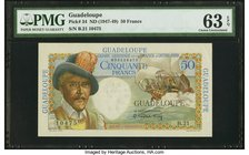Guadeloupe Caisse Centrale de la France d'Outre-Mer 50 Francs ND (1947-49) Pick 34 PMG Choice Uncirculated 63 EPQ.   HID09801242017