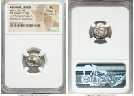 ARGOLIS. Argos. After ca. 125 BC. AR hemidrachm (15mm, 2.28 gm, 4h). NGC AU 5/5 - 4/5. Hieronos, magistrate. Forepart of wolf at bay left / Large A; I...