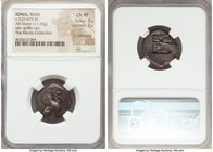 IONIA. Teos. Ca. 520-475 BC. AR stater (21mm, 11.55 gm). NGC Choice VF 4/5 - 3/5, lt. smoothing. Griffin seated right on ground line, left foreleg rai...